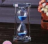 MINGZE Temporizador de reloj de arena de cristal transparente Reloj de arena Artesana decoracin de vidrio, 15 minutos / 30 minutos / 60 minutos (Azul, 15 minutos)