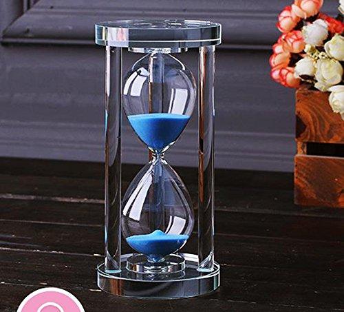MINGZE Transparent Kristall Sanduhr Timer Sand Uhr Handwerk Glas Dekoration, 15 Minuten / 30 Minuten / 60 Minuten (Blau, 60 Minuten)