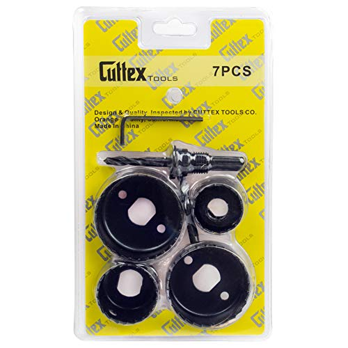 CUTTEX TOOLS Hole Saw Kit, 7 Pcs Most Common Sizes (1-1/4