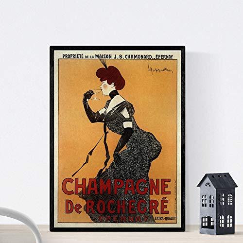 Vintage poster Nacnic. Advertentie vintage Franse champagne Rochegré. A3-formaat
