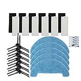 YTT 6-Filter+6-Esponjas+12-Cepillo Lateral+5-Paño de 5-Velcro para ILIFE A4 Robot Aspiradora Partes Chuwi Iife A4 T4