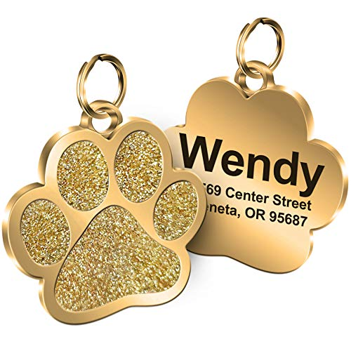 Personalized Engrave Pet ID Tags Paw Shape Custom Glitter Pet Supplies Engrave Name Number Elegant Plated Unique Gift for Cats Little Dogs (Gold)