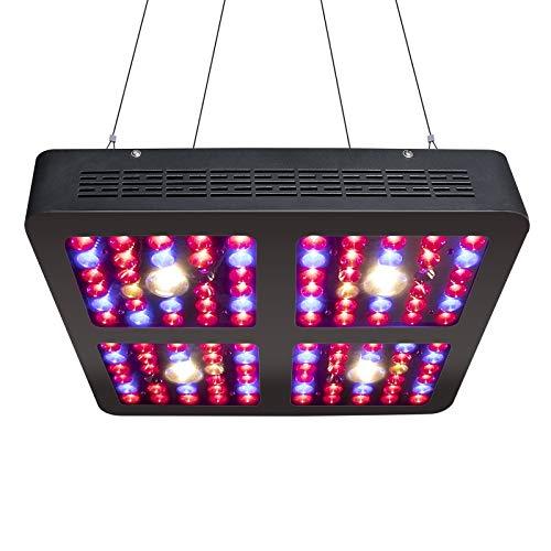 1200W COB LED Plant Light Lampada per Piante da Interno a Spettro Completo, Potente Ventilatore e Ghirlanda per la Coltivazione di Piante, Fiori, idroponica in Soggiorno (1200 Watt, Nero)