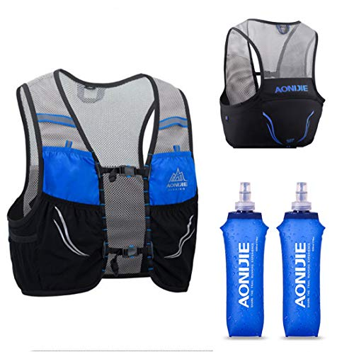 AONIJIE Lovtour Hydration Race Vest,2.5L Running Vest Lightweight Pack with 2 Soft Water Bottles Bladder for Marathoner Running Race Cycling Hiking Camping Biking (Black(L-XL))
