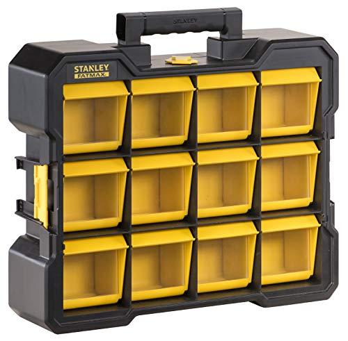 Stanley Fmst81077-1 Flip Bin Organizer FatMax® Große, weite Basis- Kippbare und abnehmbare Eimer - Transparente Deckel - Tragegriff - Seitliche Aufsätze zum Zusammenbau mehrerer Teile.