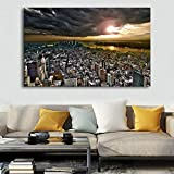 WADPJ Ciudad Moderna de Nueva York Skyline Landscape Posters Modern Print Canvas Paintings Wall Art Pictures Living Room Home Decor-70x110cmx1 pcs sin Marco