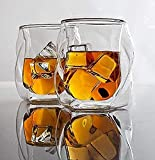 James Bentley Whiskey Glasses set+FREE Ice Ball Molds; Double wall glass for whisky glass set, for Drinking Scotch, bourbon, Luxury Gift Set 5.9Oz