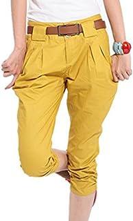 e844515bb7ae2 Femmes Pantacourts Harem Style Shorts Stretchy Poches Coton Mélange Pure  Color Slim Fit Pantalon Court S