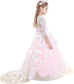 Bow Dream ガールズドレス 女の子のドレス ピアノ発表会ドレス フォーマルドレス ロングドレス 長袖 レース チュール 花嫁の介添え 蝶の飾り