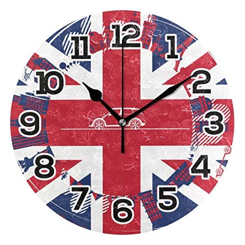 BONIPE Wanduhr, Motiv: England-Flagge, London-Symbole, geräuschlos, Nicht tickend, Acryl, 23,9 cm, Dekoration, Büro, Schule, runde Uhr