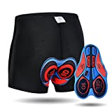 JEPOZRA Men's Cycling Underwear Shorts 3D Padded Bike Shorts Breathable Quick Dry Pants Black Red