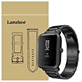 for Xiaomi Amazfit Bip Band, Lamshaw Stainless Steel Metal Replacement Straps for Xiaomi Huami Amazfit Bip Younth Watch (Black)