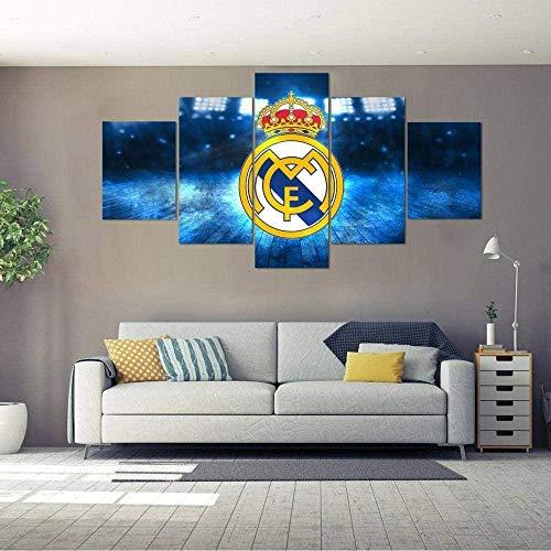 YQRX Cuadros Decoracion Salon Modernos 5 Piezas Lienzo Grandes XXL murales Pared hogar Pasillo Decor Arte Pared Abstracto Gran Real Madrid HD Impresión Foto Innovador Regalo/Cuadro/100X55CM