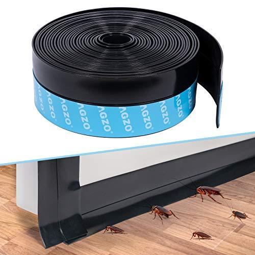 MAGZO Selbstklebendes dichtungsband 5x600 cm, Silikon Wetter Abmanteln unten Türdichtung Draft Stopper für Türen und Fenster schaldicht Tür Sweep (Schwarz)