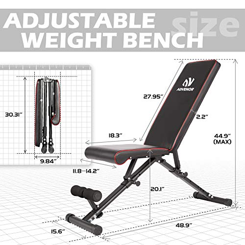 ADVENOR Weight Bench Adjustable Strength Training Incline Decline Full Body Workout Foldable Exercise Bench For Home Gym