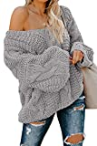 Ecrocoo Women's Off Shoulder Long Sleeve V-Neck Ribbed Cable Pullover Sweaters Blouses Oversized Loose Fitting Jumper Keep Warm Tops for Cold Winter Gray Large