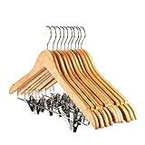 winkong 木製スーツハンガー クリップ付き 10本組 強力クリップ 頑丈 洗濯 物干し 多機能