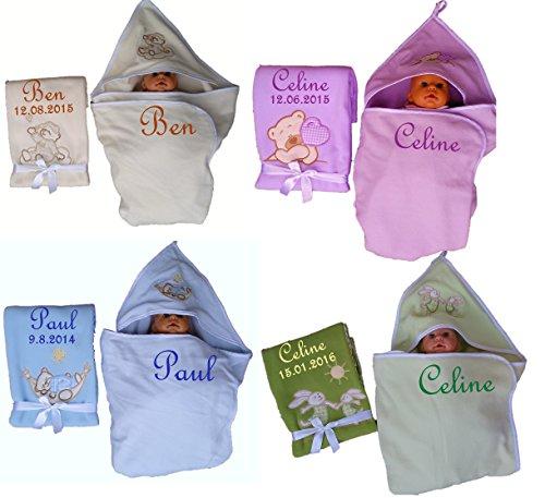 Set van babydeken + capuchon handdoek geborduurd met naam cadeau baby doop