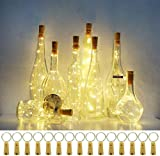 Wine Bottle Cork Lights, 15 Pack 20 LED Battery Operated Wine Bottle Lights Waterproof Fairy Copper Wire Mini String Lights for DIY, Christmas, Wedding Decor(Warm White)