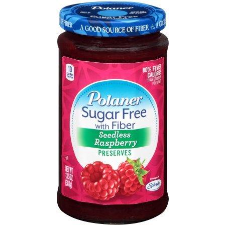 Polaner Sugar Free Seedless Raspberry with Fiber, 13.5 oz (1 Jar)