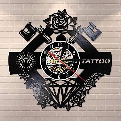 CQAZX Estudio de Tatuajes Logo Tatuaje Nombre Personalizado Disco de Vinilo Pared Krock Tattoo Shop Máquina de Tatuaje Decoración de la Pared