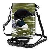 Monedero del teléfono Celular Crossbody Loon Nature Bird Mujer Bolso de Cuero de la PU con Correa Ajustable