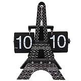 YUDIZWS Moderna Torre Retro Eiffel/Big Ben/Burj Khalifa Reloj de Flip-Flop mecánico Digital, Personalidad Creativa Artista Automático Péndulo Reloj de Escritorio Decoración de Escritorio,Eiffel Tower