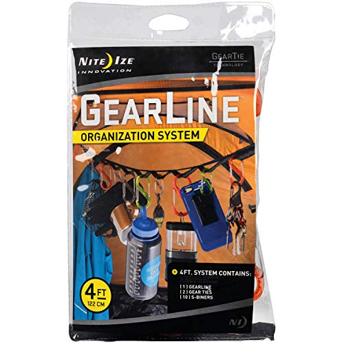 Nite Ize GearLine Hanging Organization System, 4 FT Webbing With Loops, S-Biner Clips, + Bendable Gear Tie Ends To Hang Your Gear Anywhere, Colorful S-Biners, Multi-Colored (SS-SMS-4005776)