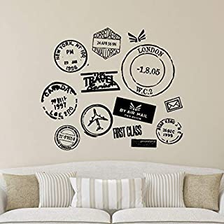 Wall Quotes Travel Series Postmarks Vinyl Wall Decal Travel Wanderlust Mail Passport Stamp Motivational Inspiration Quote London New York
