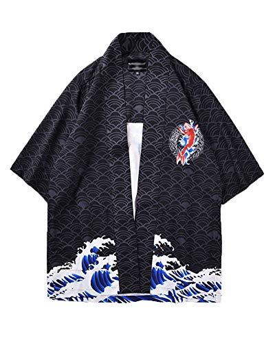 DianShaoA Herren Haori Kimono-Jacke 3/4 Ärmel Koi Gedruckt Lose Cardigan Oberteile 2XL