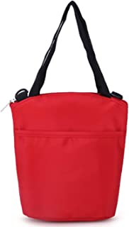 Leather Lunch Wallet - Insulated Reusable Lunch Tote Organizer Wallet/Capacity Lunch Box Foldable Lunch Tote Cooler with Thermal Lining Waterproof (Color : Red)