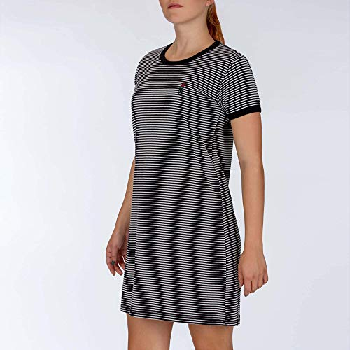 Hurley W Rose Stripe Tee Dress Robes Femme, Black, FR : S (Taille Fabricant : S)