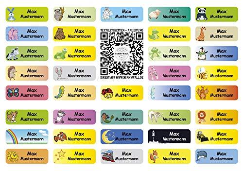 Sunnywall® für Kleidung Namensaufkleber Aufbügel-Etiketten Aufkleber Sticker 3,8x1,4cm | 37 Stück für Kinder Schule und Kindergarten (MIXBOGEN)
