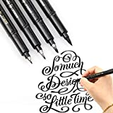 Hand Lettering Pens - 4 Size Refillable Black Calligraphy Ink Pen for Beginners Writing, Signature, Illustration Design
