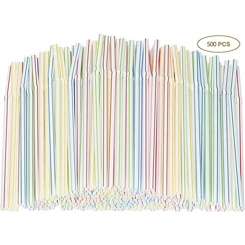 Renquen Trinkhalme, 20 cm lang, mehrfarbig, gestreift, biegbar, flexibel, Kunststoff, 5 Packungen 5 Packungen