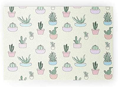 """Society6 68300-wcmatl The Optimist Cactus All Over Welcome Mat, 36"""" x 24"""", Yellow"""