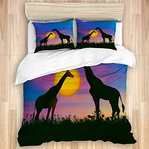 Juego de funda nórdica de 3 piezas, hermoso colorido artístico paisaje africano de puesta de sol de jirafa, juegos de fundas de edredón de microfibra de lujo para dormitorio, colcha con cremallera con