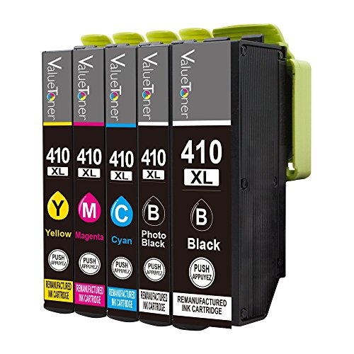 Valuetoner Remanufactured Ink Cartridge Replacement For Epson 410 410XL (1 Black/1 Photo Black/1 Cyan/1 Magenta/1 Yellow) 5 Pack High Capacity for Epson Expression XP-530 XP-630 XP-635 XP-640 XP-830