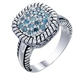 0.50 cttw Blue Diamond Ring .925 Sterling Silver Size 7