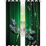 Cortina aislada de sombreado, figuras vívidas en forma de diamante de piedras preciosas con efectos artísticos, 52 x 63 cm de ancho para sala de estar o dormitorio, color verde cazador dorado