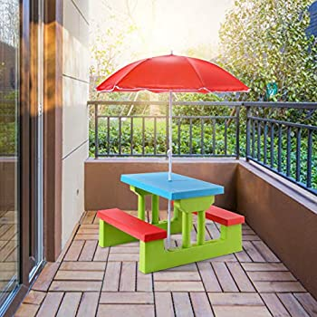HAPPYGRILL Mini Picnic Table Set for Kids Picnic Table with Umbrella for Garden Yard