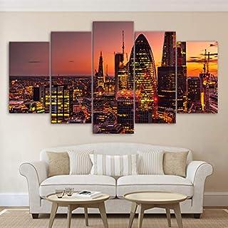 mmwin Decoración para el hogar Moderno HD Impreso Poster5 Panel London LightCity Building Tableau Wall Art PictureModular s