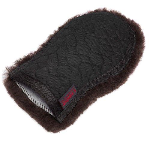 CHRIST Lammfell Putzhandschuh/Pflege-handschuh ideale Ergänzung zur Pflege Ihres Pferdes, Wollhöhe 30mm, one Size, in Farbe schwarz-braun