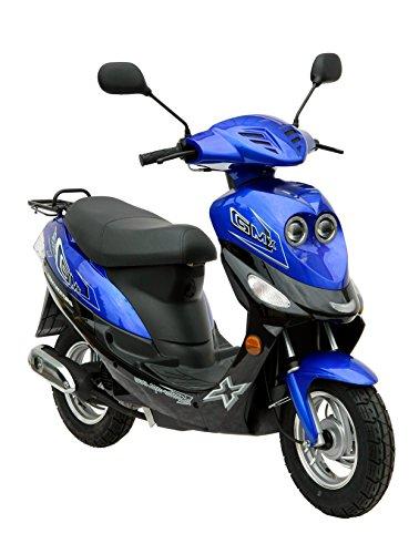 GMX 550 4 Takt 25 km/h blau Roller Motorroller Scooter Mofa Mofaroller Scooterroller schwarz zweifarbig zweisitzer Bike Cityroller Moped Leichtkraftrad 50 49 ccm kubig