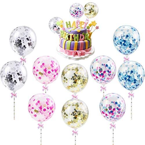 Idealeben Paillettenballon-Kuchendekoration 10 Stück Pailletten Ballons Latexballons Bunte Konfetti-Ballon Kuchendekorationen Hochzeitsdekorationen Geburtstagsdekorationen Partydekorationen