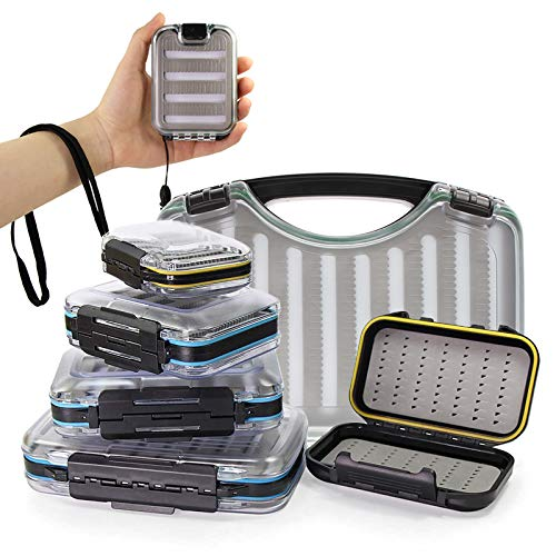 Croch Caja de cebo para moscas, spoons, spinner, e intermitentes, resistente al agua, con 5 moscas.