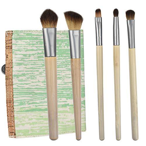 Brosse Maquillage Poignée En Bambou 5 Pièces Avec Pack Brosse De Brosse Contour Brosse Ombre À Paupières Pour Un Usage Quotidien