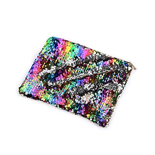 Asosmos Doppelseitige Pailette Federmäppchen Schreibwaren Aufbewahrung Stift Kollektion Tasche Geldbörse - Regenbogen Silber