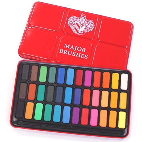 Major Brushes Artist Watercolour Paint Tin - 36 Blocks Red...