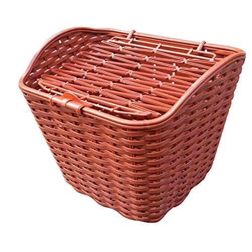 HYFDGV Retro Hundefahrradkorb für Gepäckträger aus Weide 34 x 24 cm mit Holzstück Tierkorb Hundekorb für Fahrrad,Brown